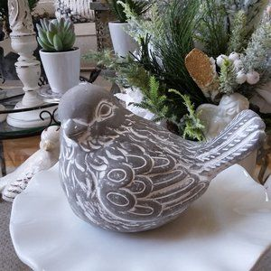 NEW! DISTRESSED Farmhouse CHUBBY Bird STATUARY